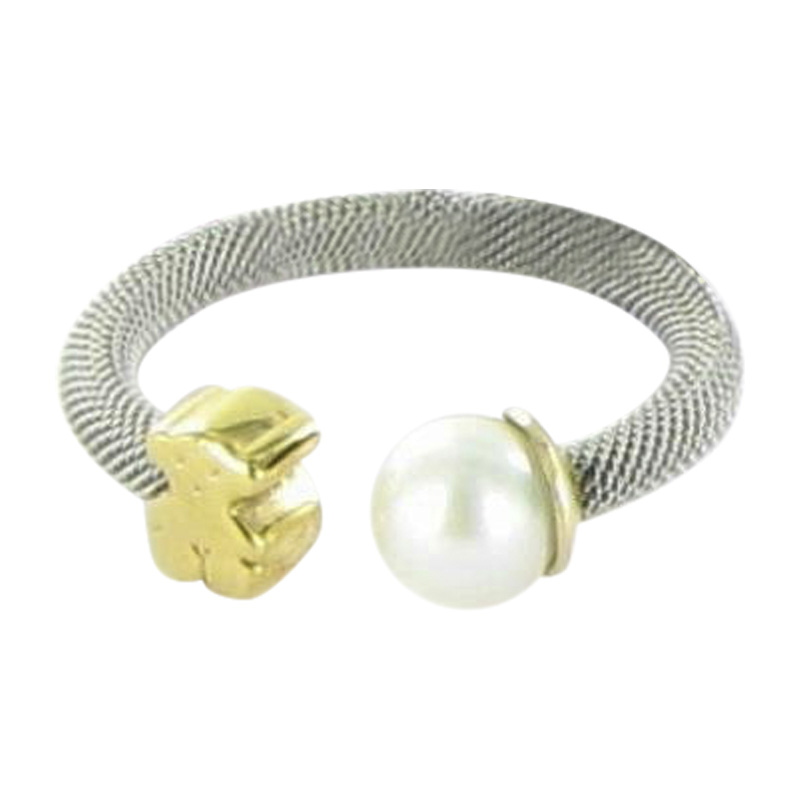 """Image of """"Tous Icon 18K Yellow Gold Stainless Steel Mesh Pearl Bear Ring Size 7"""""""