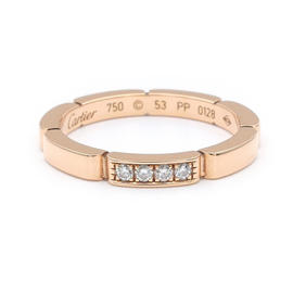 Cartier Maillon Panthère 750 Pink Gold 4P Diamond Ring Size 6.5