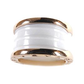 Bulgari B-Zero1 18K Rose Gold and White Ceramic 3-Band Ring Size 6.5