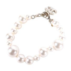 Chanel CC Logo Gold Tone White Faux Pearl Bracelet
