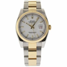 Rolex Datejust 116203 Stainless Steel & 18K Yellow Gold White Dial Automatic 36mm Unisex Watch