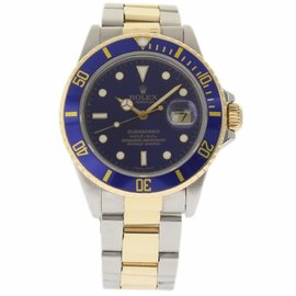 Rolex Submariner 16803 Stainless Steel & Yellow Gold Blue Dial Automatic 40mm Mens Watch 1987