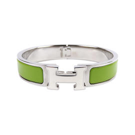 Hermes Clic Clac Silver Tone and Green Enamel PM H Bangle Bracelet