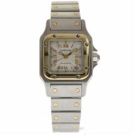 Cartier Santos Galbee 2423 Stainless Steel and Yellow Gold 24mm Womens Watch