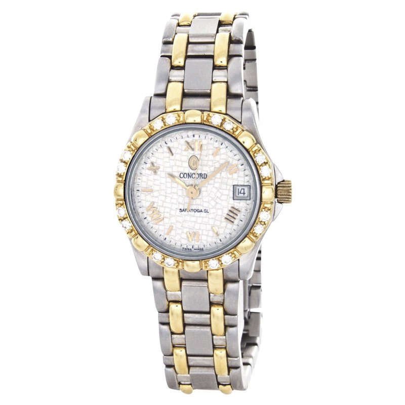 "Image of ""Concord Saratoga 1021883 Two-Tone Stainless Steel 25mm Womens Watch"""