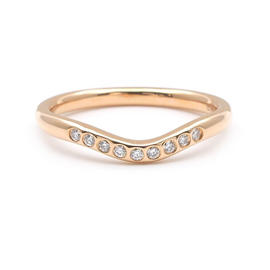 Tiffany & Co. 750 Rose Gold Curved Band Diamond Ring Size 6
