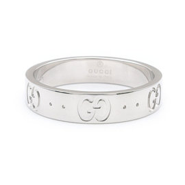 Gucci 18K White Gold Icon Ring Size 5.5