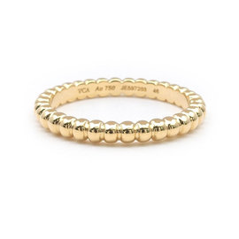 Van Cleef & Arpels 18k Yellow Gold Perlee Small Ring Size 4