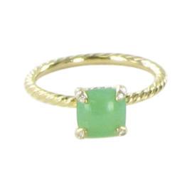 David Yurman 18K Yellow Gold Diamonds Chatelaine Chrysoprase Ring Size 7