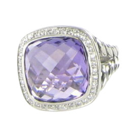 David Yurman Albion 925 Sterling Silver Amethyst Diamond 0.31cts Ring Size 7