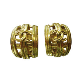 Chanel Yellow Gold Tone Metal CC Logos Clip-on France Earrings