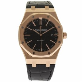 Audemars Piguet Royal Oak 15400OR.OO.D002CR.01 18K Rose Gold & Leather Automatic 41mm Mens Watch