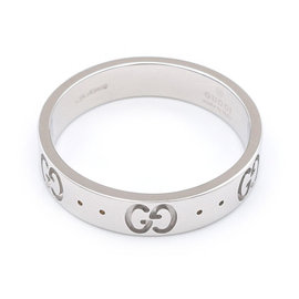 Gucci Icon 750 White Gold Ring Size 6.5