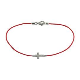 Aaron Basha Little Basha Girls 18K White Gold and Cord with 0.07ct Diamond Bracelet