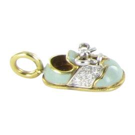 Aaron Basha 18K Yellow Gold 0.13cts Diamond Baby Saddle Blue & Pave Pendant