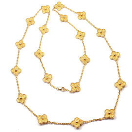Van Cleef & Arpels 18K Yellow Gold Alhambra 20 Motif Necklace