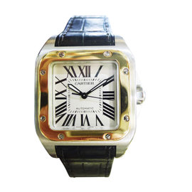 Cartier Santos 100 2878 Stainless Steel & 18K Yellow Gold Automatic 34mm Mens Watch