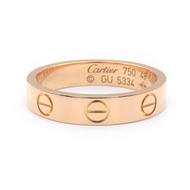 Cartier Mini Love 18K 750 Rose Gold Ring Size 4.5