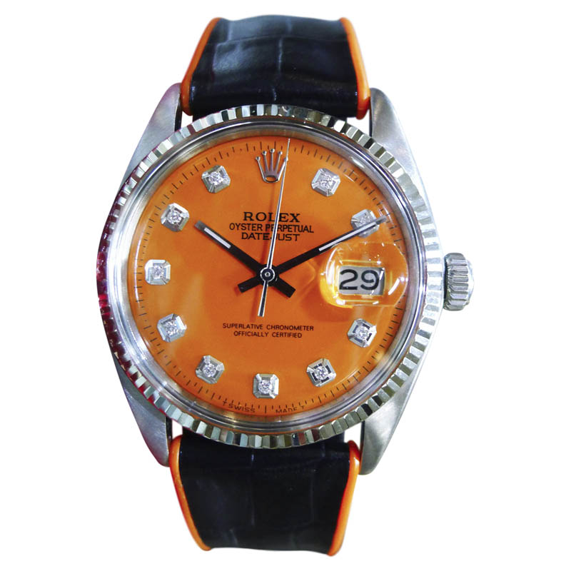 """Image of """"Rolex Datejust Stainless Steel & 18K White Gold Orange Dial 36mm Mens"""""""