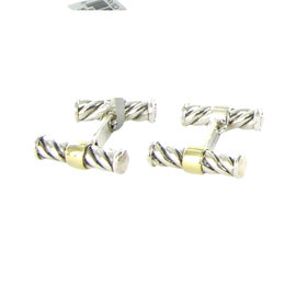 David Yurman Cable Classic 925 Sterling Silver and 18K Yellow Gold Cufflinks