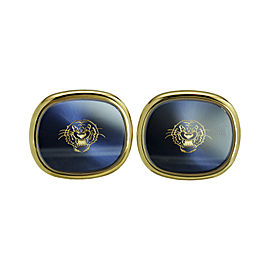 Patek Philippe 18K Yellow Gold Golden Ellipse Blue Dial Tiger Head Cufflinks