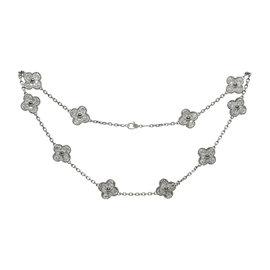 Van Cleef & Arpels Alhambra 18K White Gold Diamond 10 Motif Necklace