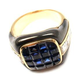 Piaget 18K Yellow Gold with Diamond, Sapphire & Enamel Ring Size 6.5