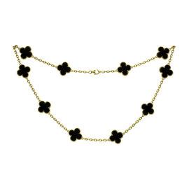 Van Cleef & Arpels Alhambra 18K Yellow Gold Onyx Motif Necklace