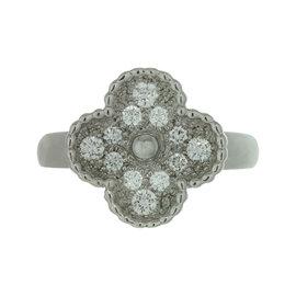 Van Cleef & Arpels Alhambra 18K White Gold Diamond Ring Size 5.25