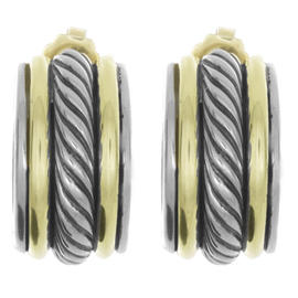 David Yurman 14K Yellow Gold & 925 Sterling Silver Round Cable Earrings