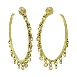 Christian Dior 18K Yellow Gold Diamond Dangle Hoop Earrings