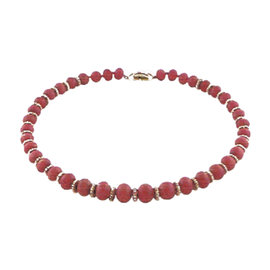Van Cleef & Arpels 18K Yellow Gold Coral Bead Necklace