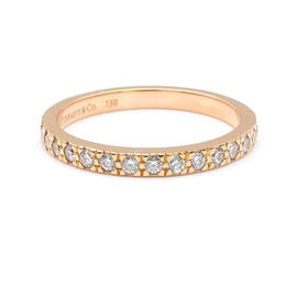 Tiffany & Co. 750 Rose Gold & Diamond Novo Half Eternity Ring Size 4.5