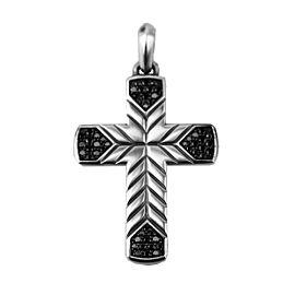 David Yurman 925 Sterling Silver Chevron Cross Black Diamonds Pendant