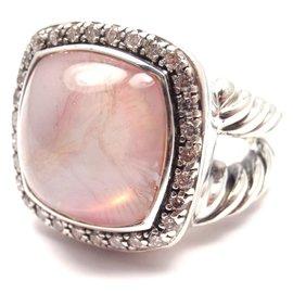 David Yurman 925 Sterling Silver wDiamonds & Moon Quartz Albion Ring Size 5