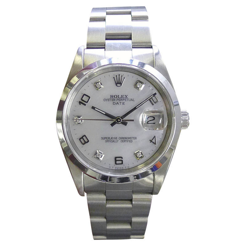 "Image of ""Rolex Date Stainless Steel Vintage 34mm Mens Watch"""