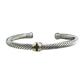 David Yurman 925 Sterling Silver and 14K Yellow Gold with Ruby Cable Classic Bracelet
