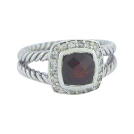 David Yurman Petite Albion 925 Sterling Silver wGarnet & Diamonds Ring Size 7