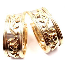Cartier Panther Panthere 18K Yellow & White Gold Hoop Earrings