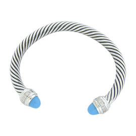 David Yurman 925 Sterling Silver With Turquoise and Diamonds Bracelet