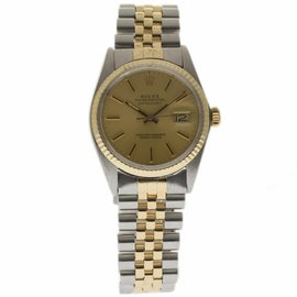Rolex Datejust 16013 Stainless Steel & 18K Yellow Gold Champagne Dial 36mm Mens Watch 1987