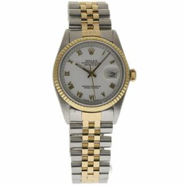 Rolex Datejust 16013 Stainless Steel & 18K Yellow Gold White Dial Automatic 36mm Mens Watch