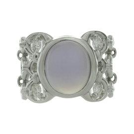 Christian Dior 18K White Gold Chalcedony Diamond Ring Size 6.5