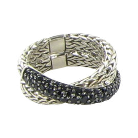 John Hardy Classic Chain 925 Sterling Silver with Black Sapphire Ring Size 7
