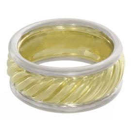 David Yurman 18K Yelllow Gold & 925 Sterling Silver Ring Size 7