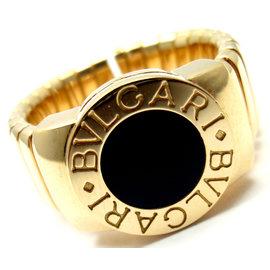 Bulgari Tubogas 18K Yellow Gold with Black Onyx Band Ring Size 6 - 7