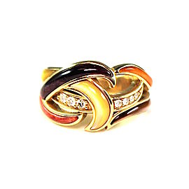 Kabana 14K Yellow Gold Spiny Oyster Inlay and 0.12ct Diamonds Ring Size 5.75
