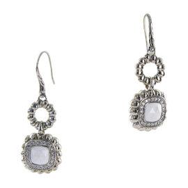 John Hardy Batu Bedeg 925 Sterling Silver with White Agate and Diamond Dangle Earrings