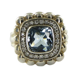 John Hardy Batu Bedeg 925 Sterling Silver with Blue Topaz, Diamond Ring Size 7