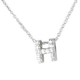 Roberto Coin Initial Thoughts Letter H 18K White Gold 0.06ct. Diamond Necklace